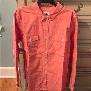 Light red button down